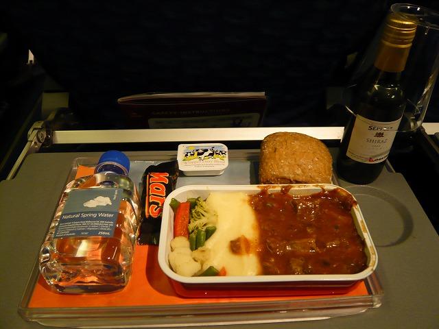 カンタス航空QF532便エコノミークラス機内食