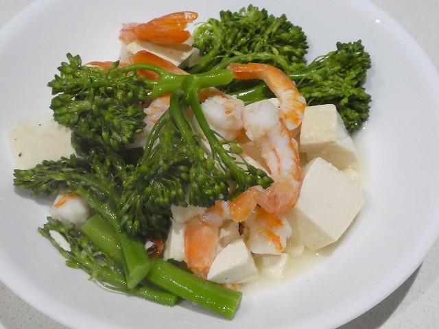 海老とブロッコリーニと豆腐のあんかけ
